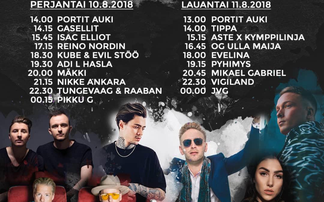 Kesän 2018 Aura Festin päiväkohtaiset aikataulut on julkistettu